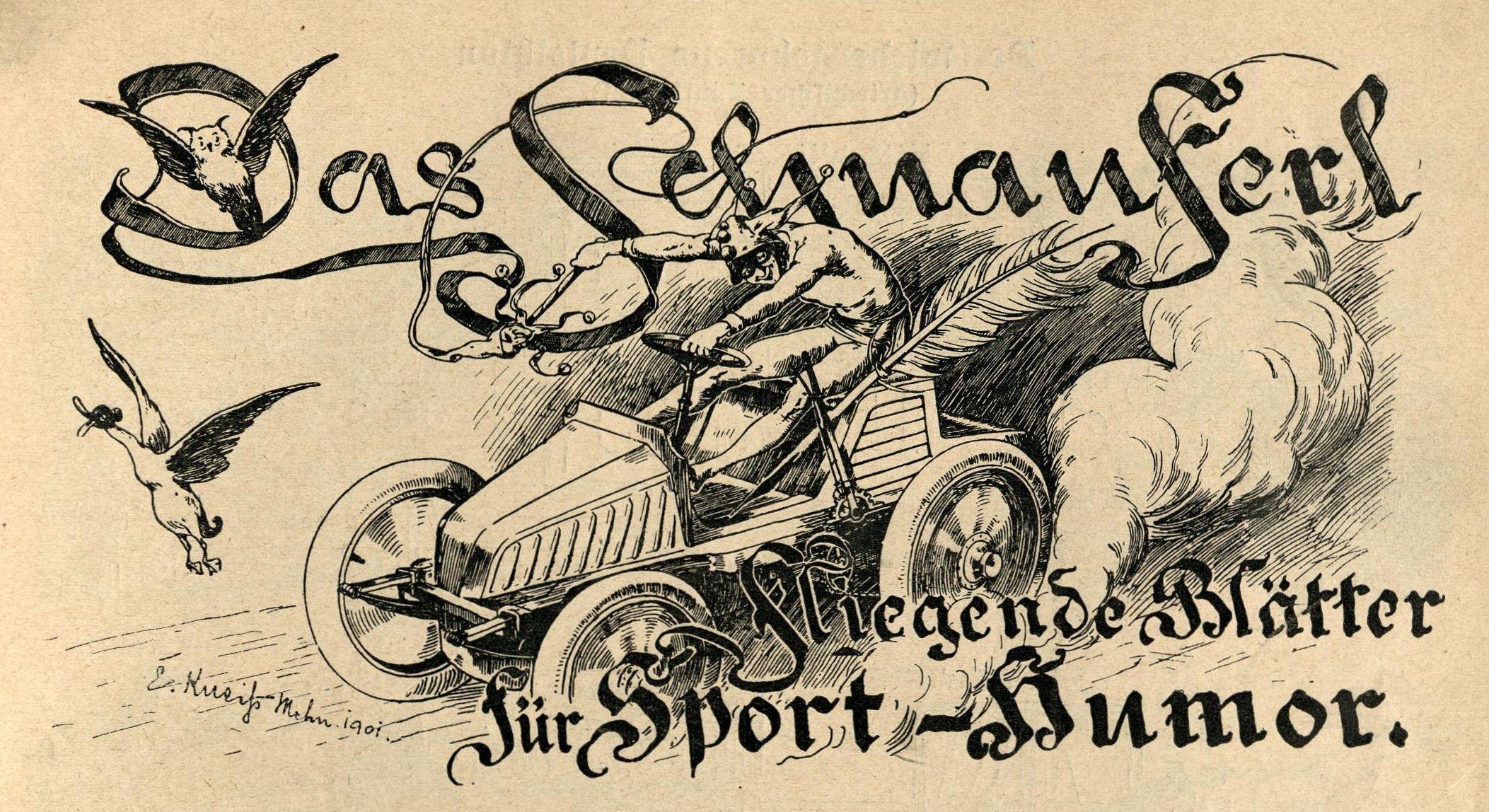 Bild: Das Schnauferl, fliegende Blätter für Sport-Humor