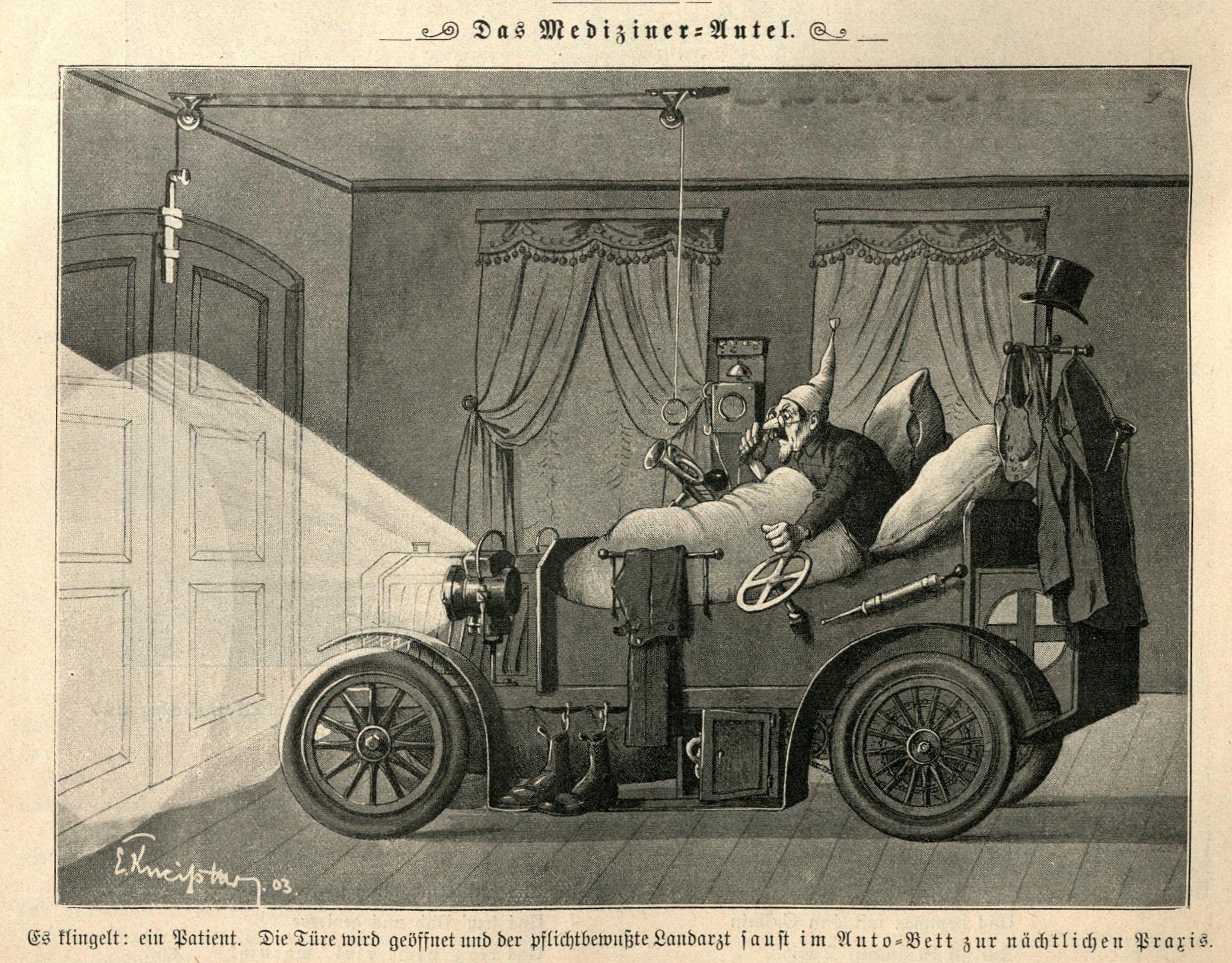 Bild: Der pflichtbewusste Landarzt saust im Auto-Bett zur nächtlichen Praxis.