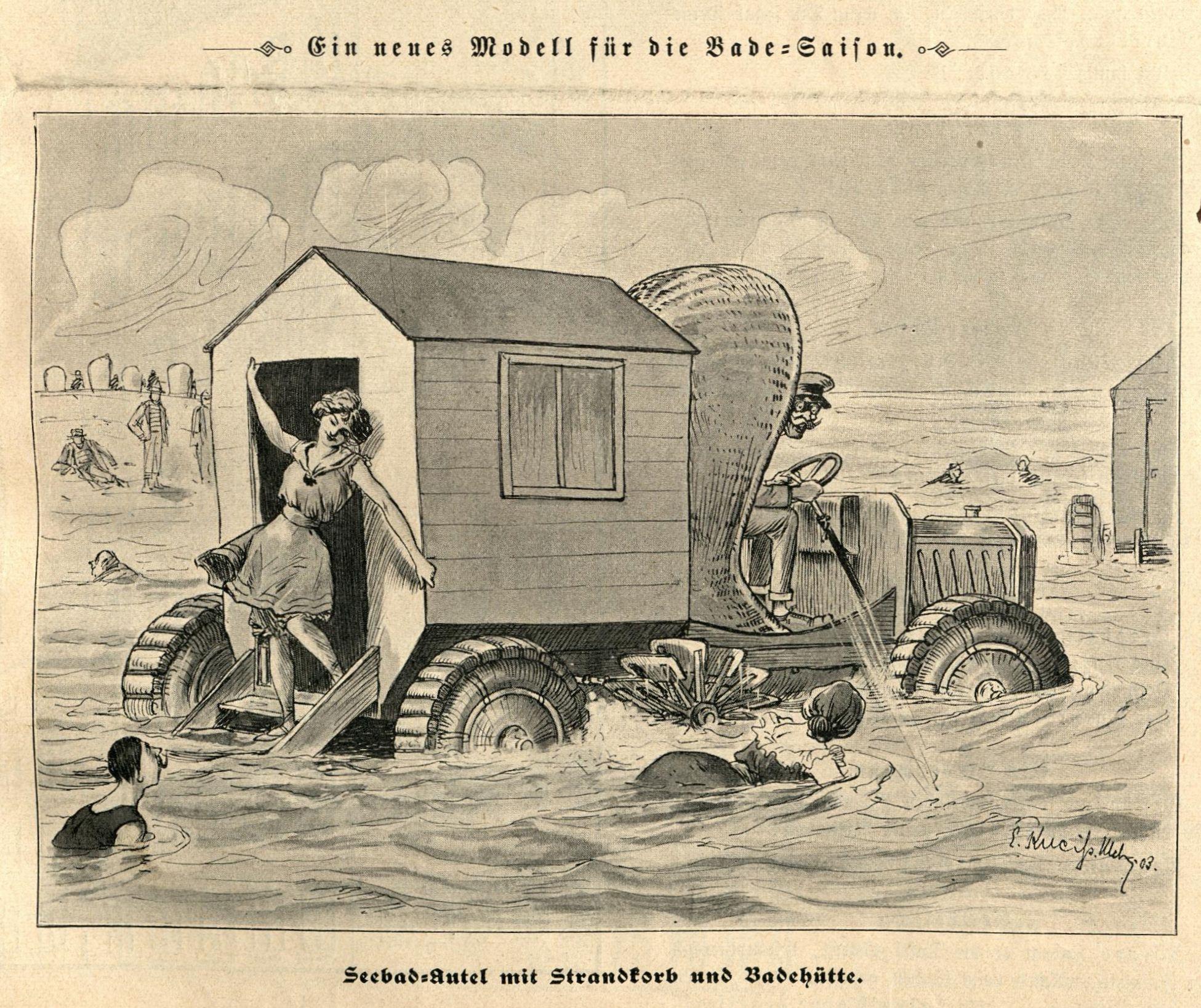 Bild: Seebad-Autel mit Strandkorb und Badehütte