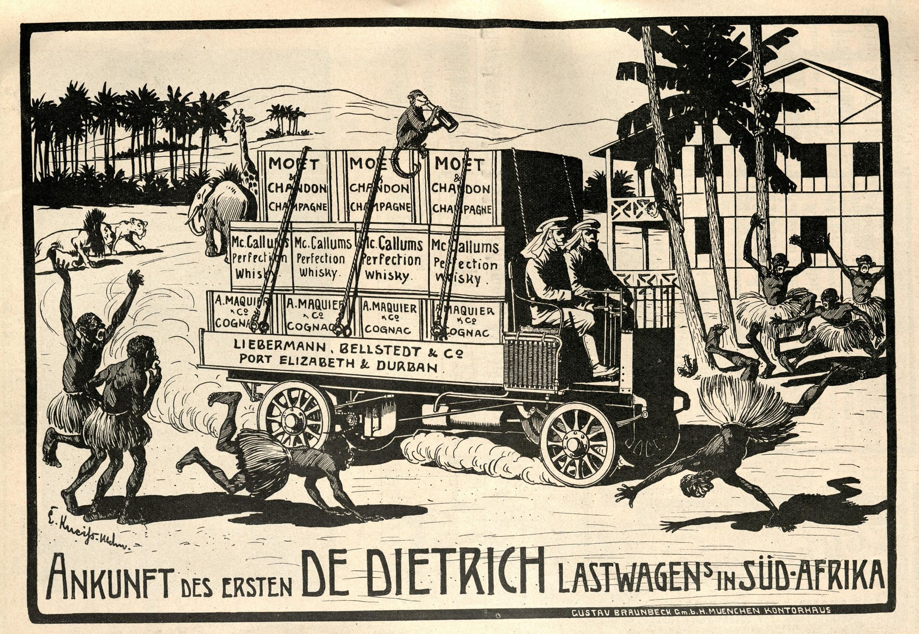 Bild: Ankunft des ersten DE DIETRICH Lastwagens in Südafrika