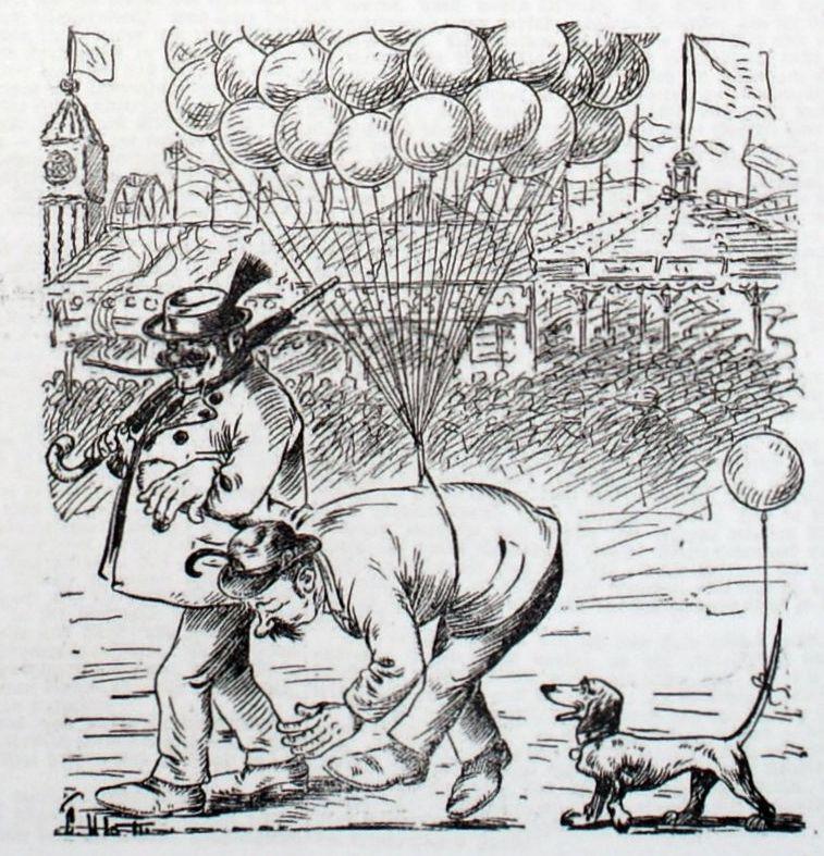 Bild: Heimkehr von der Wiesn mit Hilfe von Luftballons