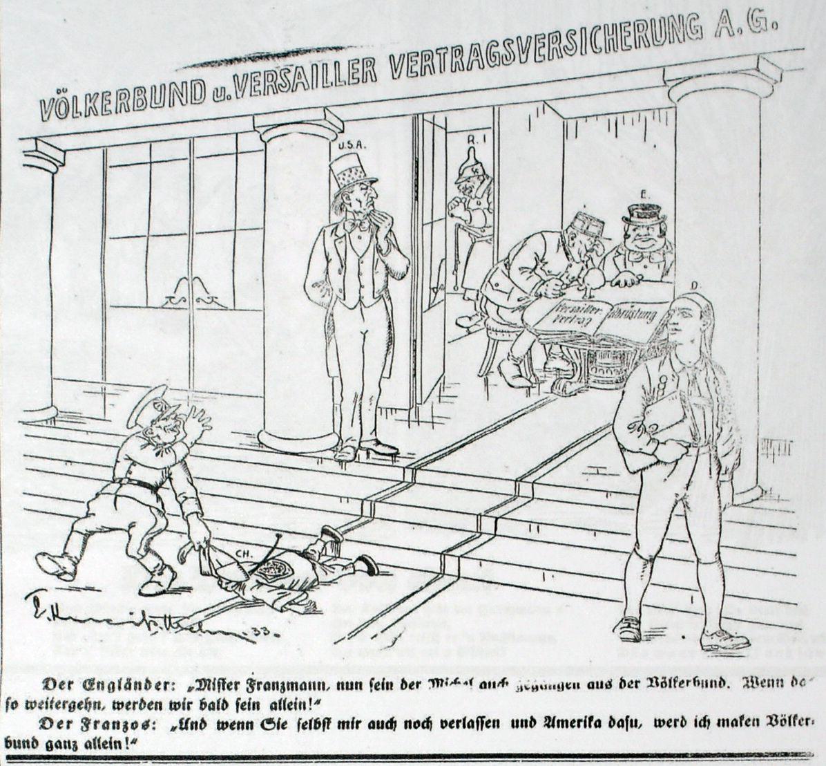 Bild: Der deutsche Michl verlässt das Gebäude des Völkerbunds