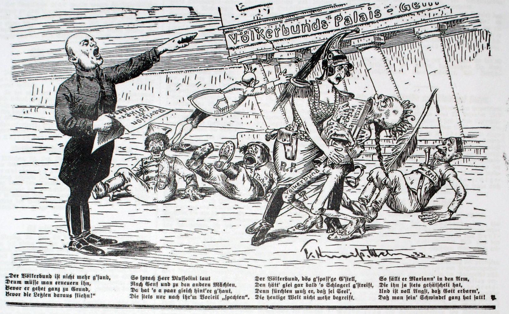 Bild: Mussolini fordert lauthals vor dem Völkerbundpalais eine Revision des Völkerbundes