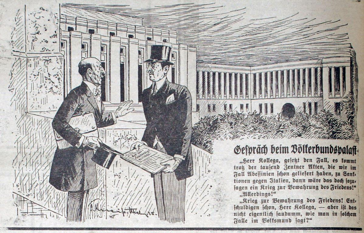 Bild Gespräch vor dem Völkerbundspalast zwischen Hoare (England) und Laval (Frankreich)
