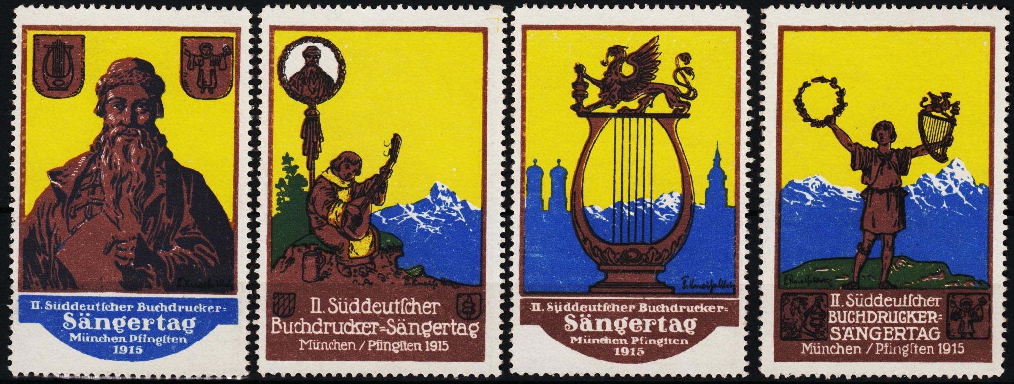 Verschlussmarken II. Buchdrucker-Sängertag München / Pfingsten 1915