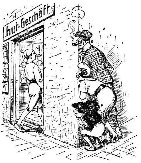 Bild: Der deutsche Michl geht mit Zipfelmütze in einen Hutladen
