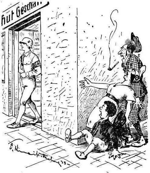 Bild: Der deutsche Michl verlässt den Hutladen mit einem Stahlhelm auf dem Kopf