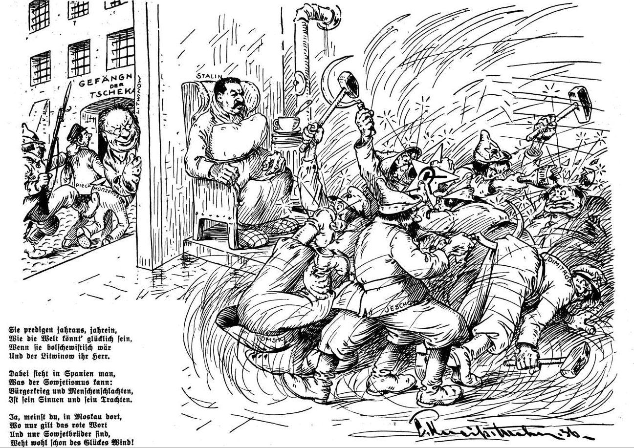 Bild: 1936 Stalin und Litwinow sehen bei der Selbstzerfleischung der führenden Kader zu