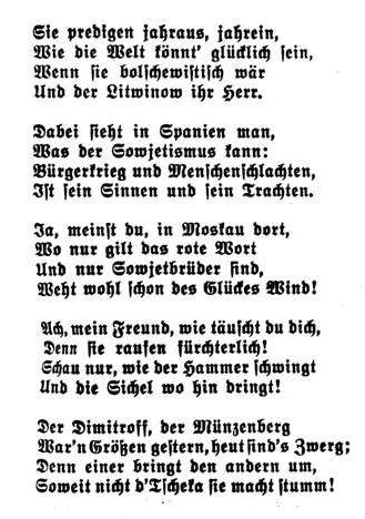 Bild: 1936 Verse zu Stalin und Litwinow