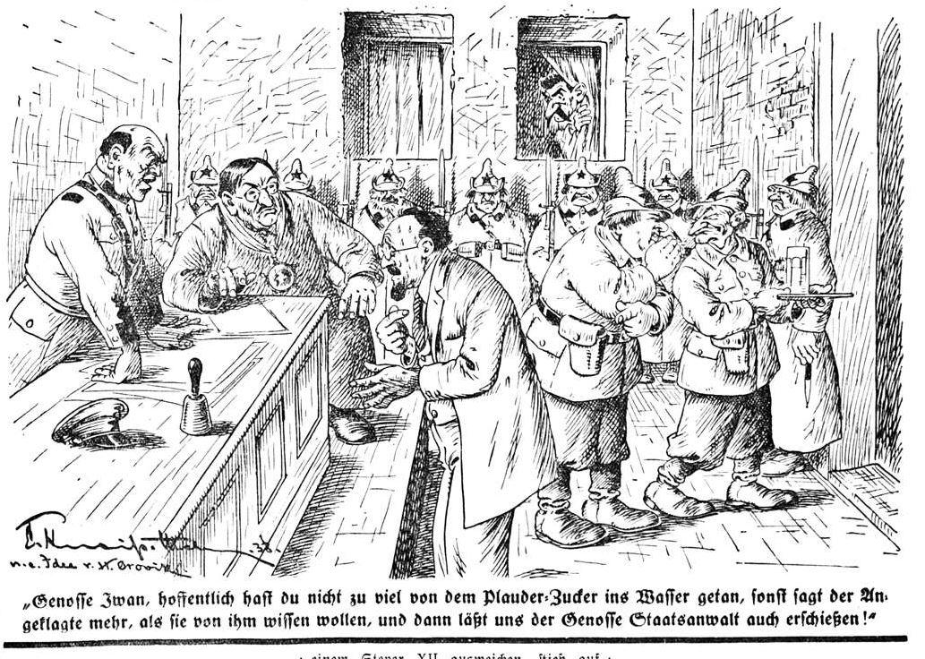 Bild: 1938 Anspielung auf die meist durch Folter erpressten Geständnisse im Trotzkisten-Prozess