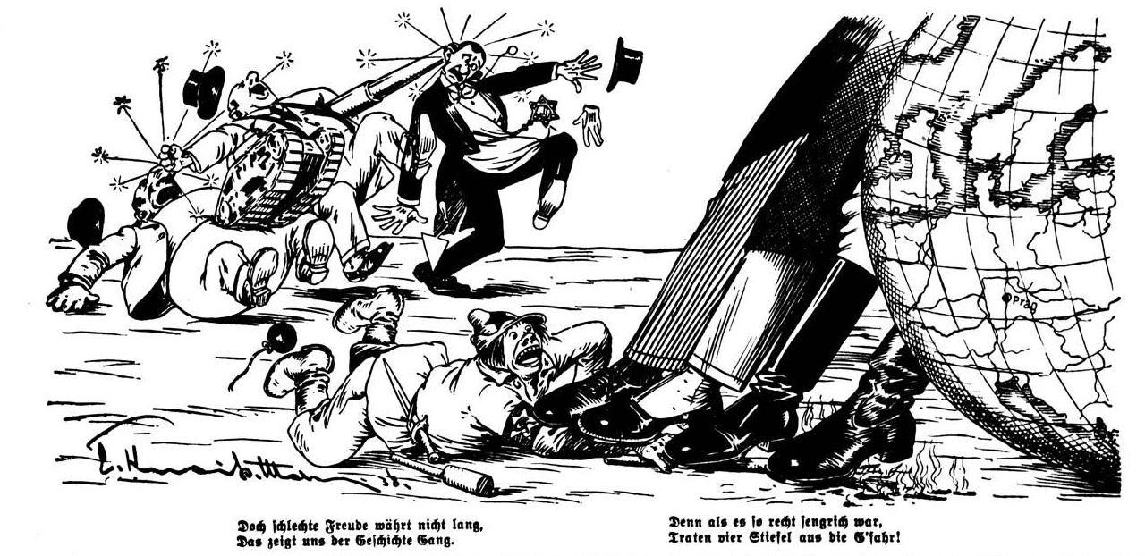 Bild: Bei Münchner Abkommen vom Oktober 1938 löschen England, Frankreich, Italien und Deutschland die Flammen gerade noch aus