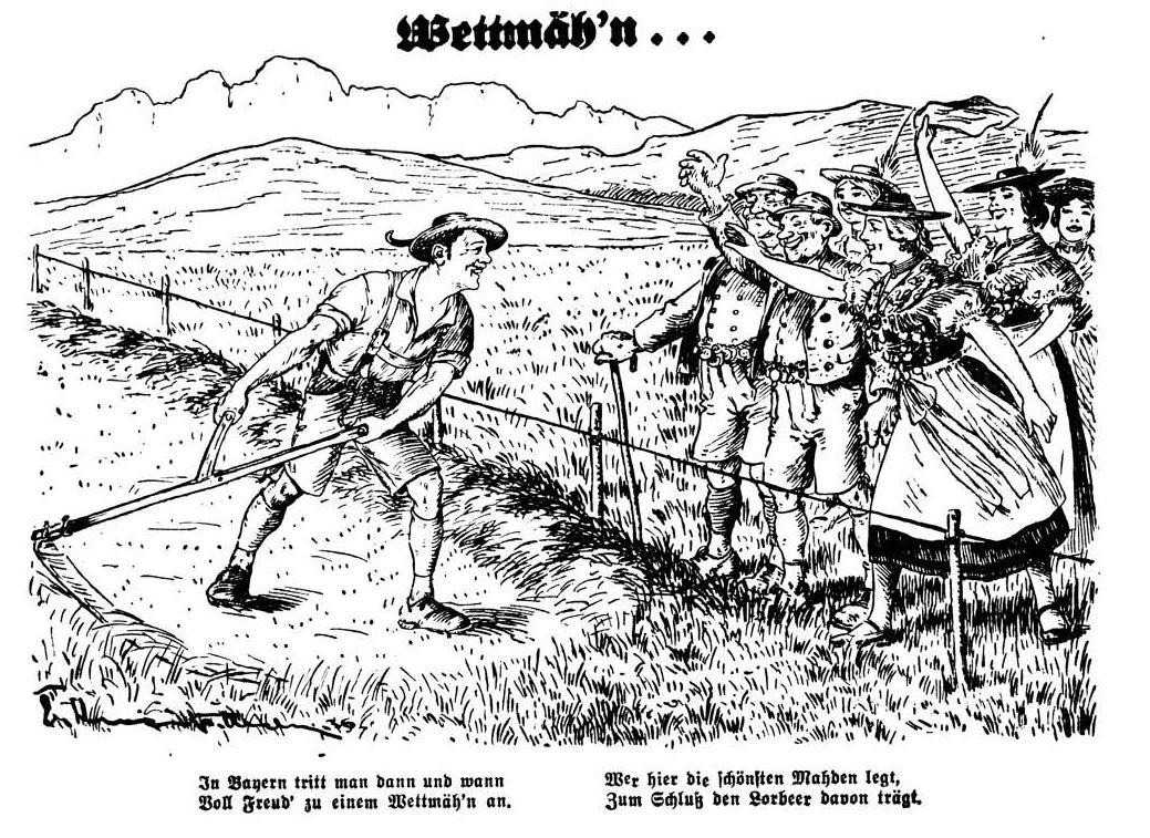 Bild: 1936 Wettmäh'n in Bayern