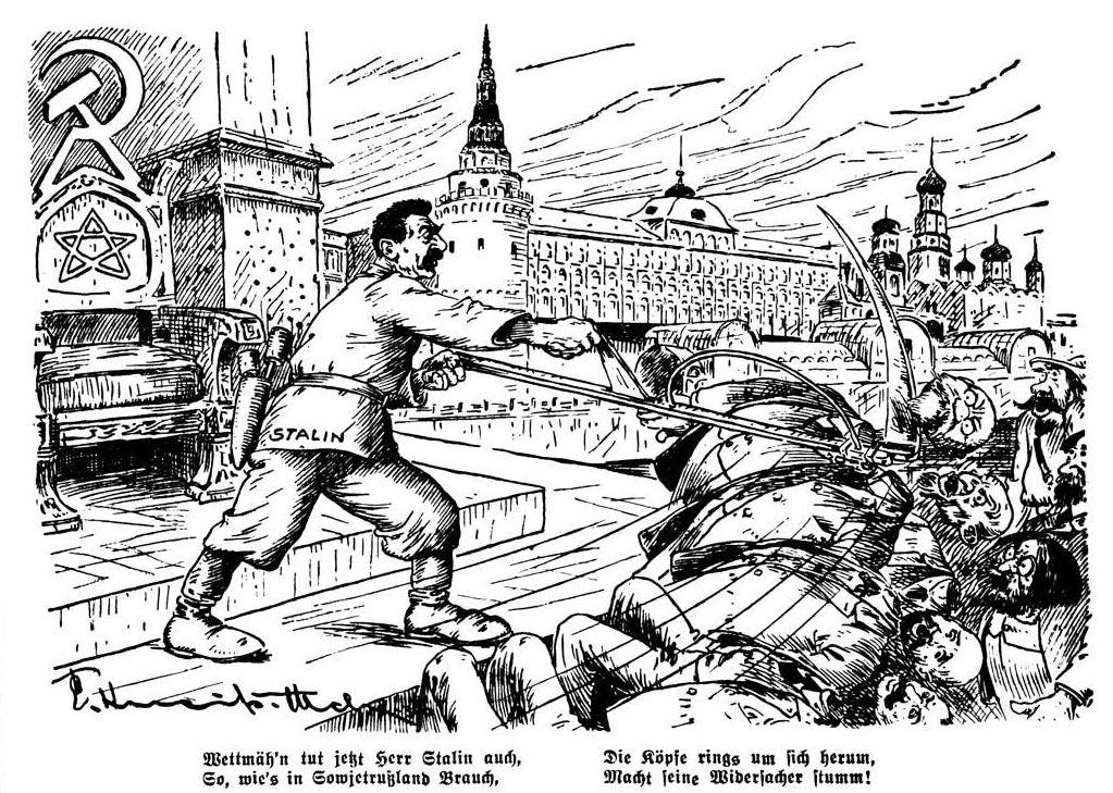 """Bild: 1936 """"Wettmäh'n tut Herr Stalin auch"""