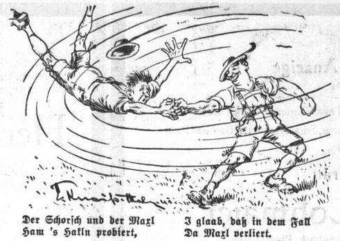 Bild: Der Schorsch und der Maxl ham 's Hakln probiert