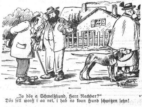 Bild: Is dös a Schweißhund, Herr Nachbar?