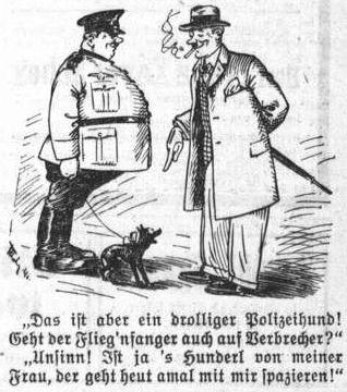 """Bild: """"Geht der Flieg'nfanger auch auf Verbrecher?"""""""