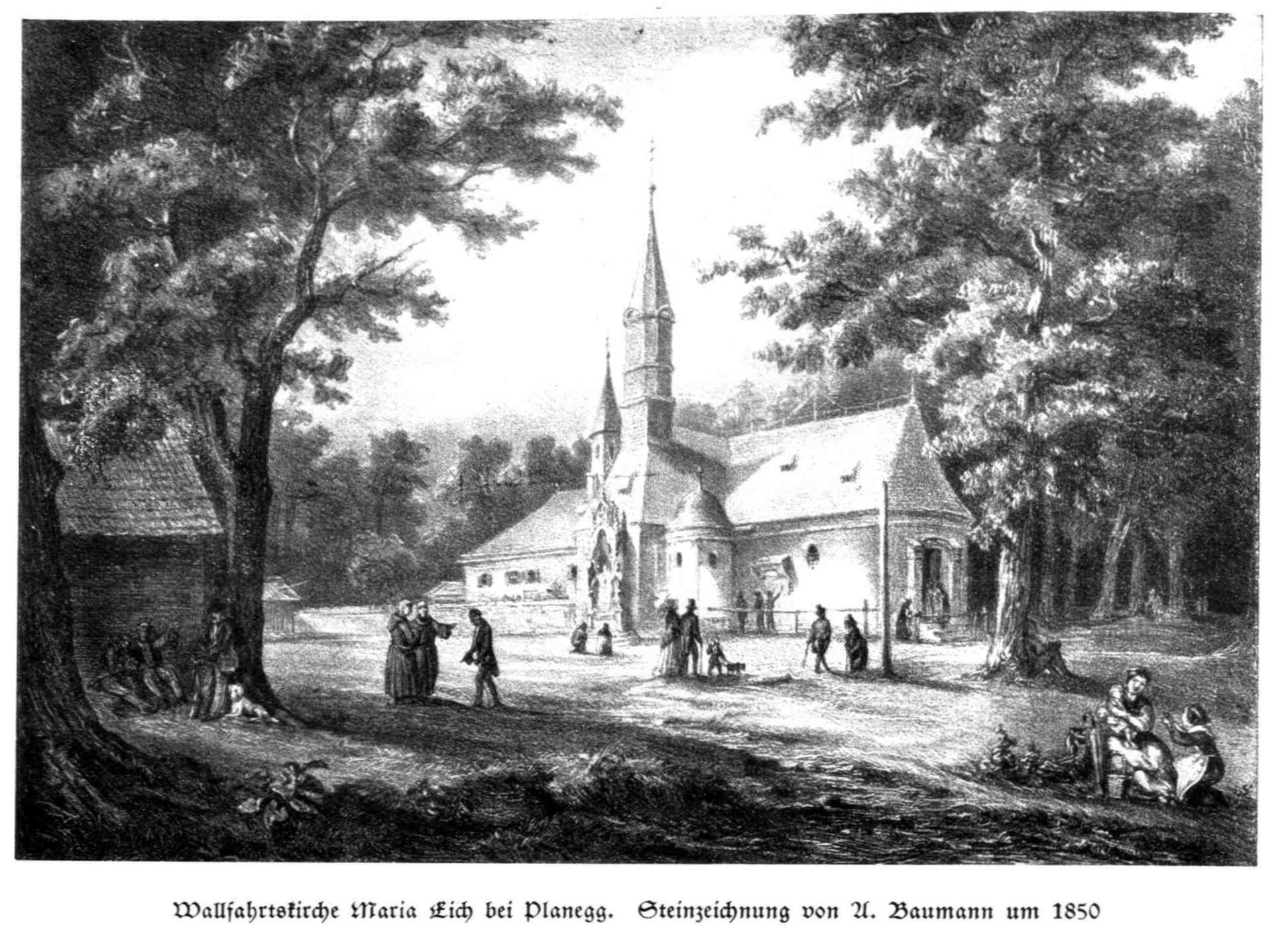 Bild: Lithografie der Wallfahrtskirche Maria Eich von 1850