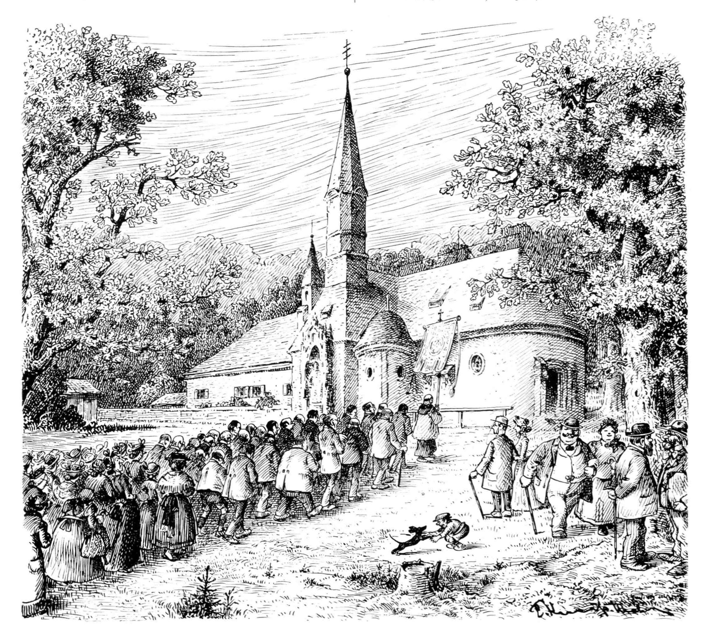 Bild: Ein Wallfahrerzug vor der Kirche Maria Eich in Planegg