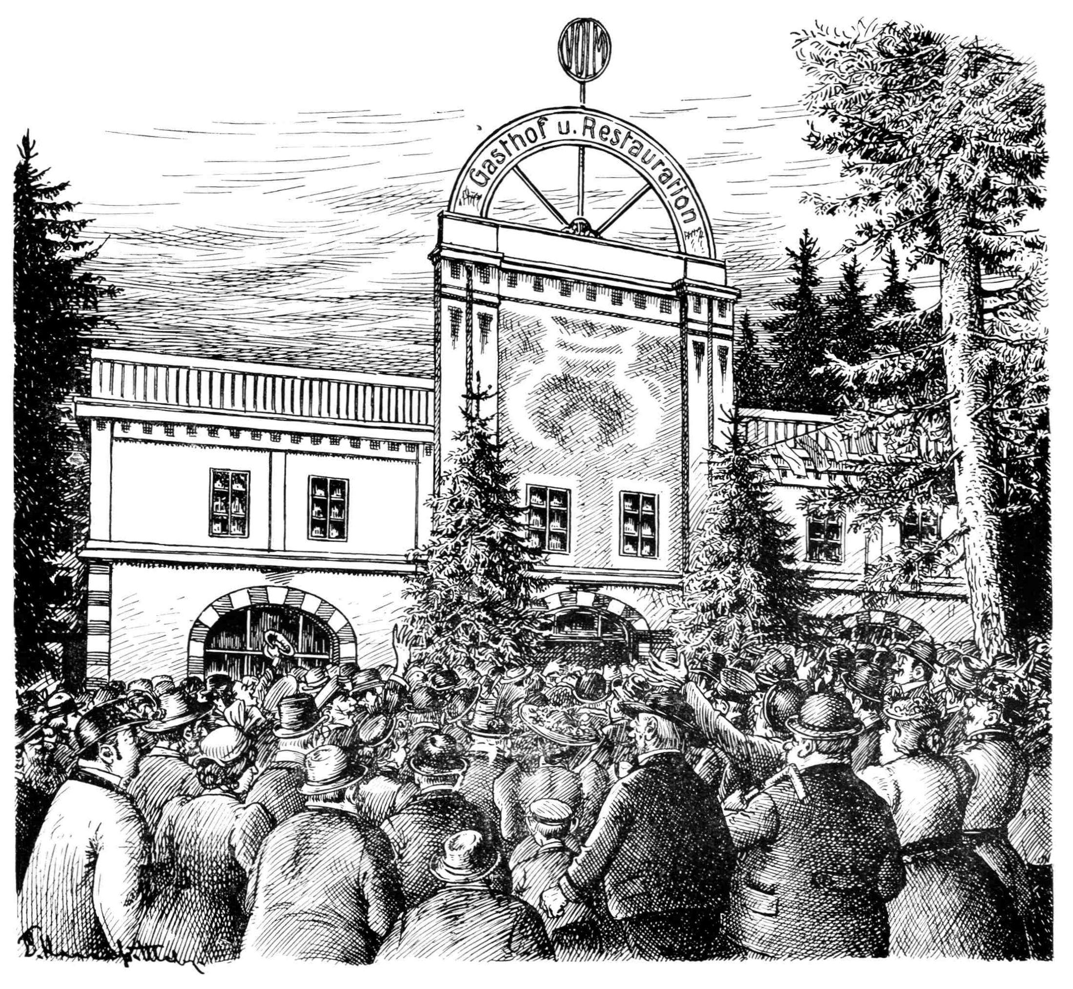 Bild: Eine Menschenmenge stürmt auf den Eingang zum Gasthof Volm zu