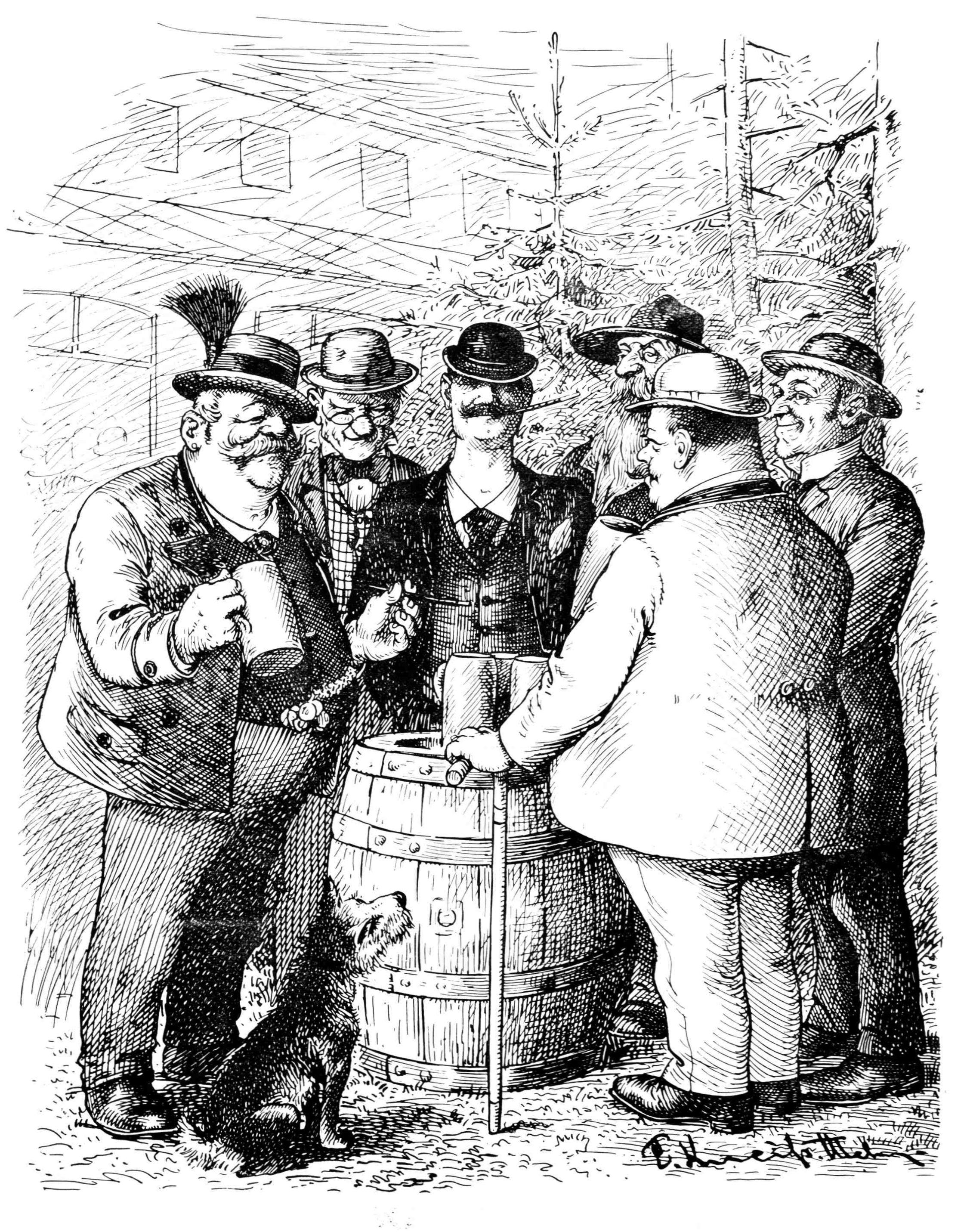 Bild: Sechs Männer und ein Hund stehen um ein Fass und trinken Bier aus Masskrügen