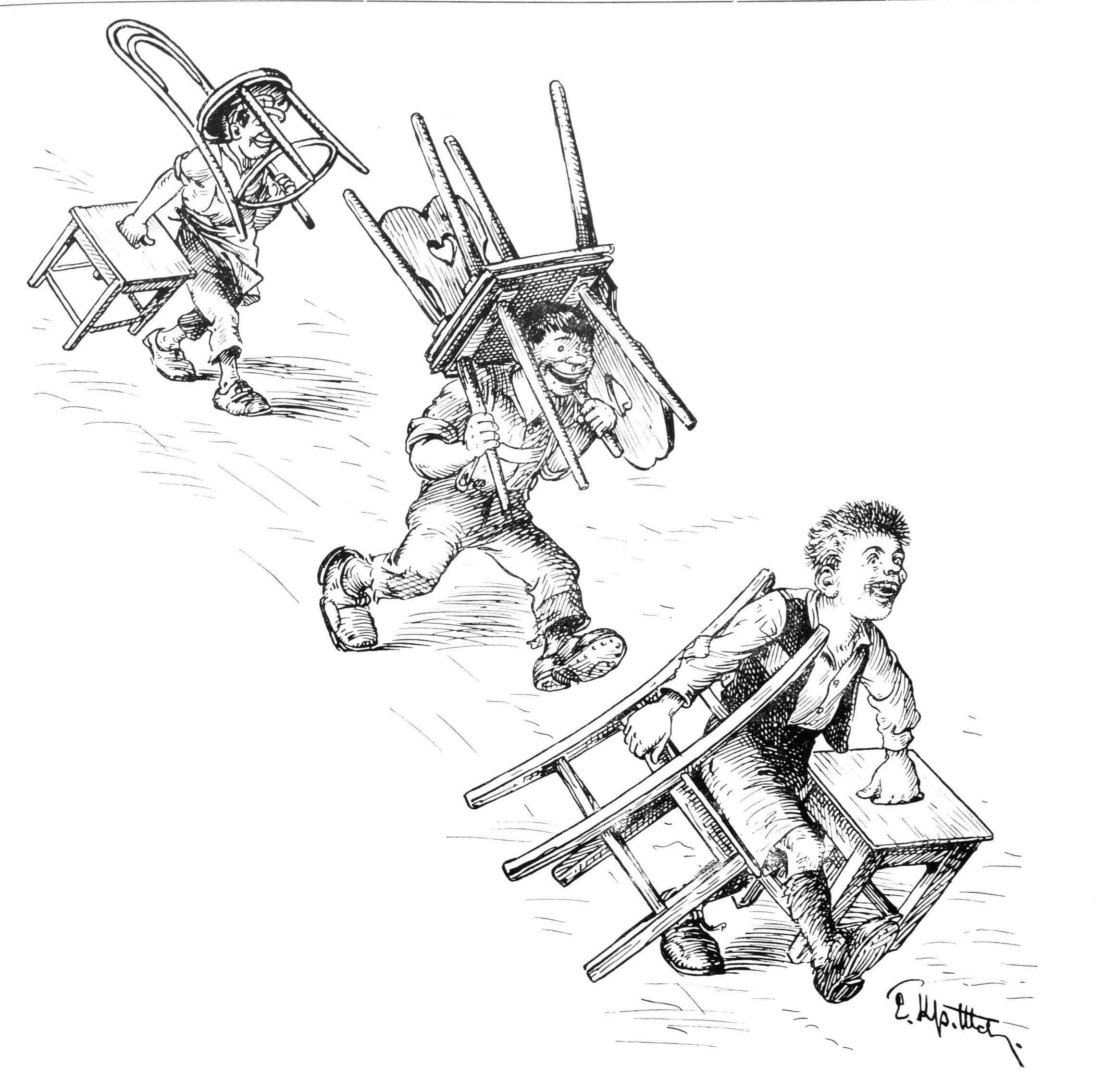 Bild: Drei Knaben tragen Stühle und Hocker herbei