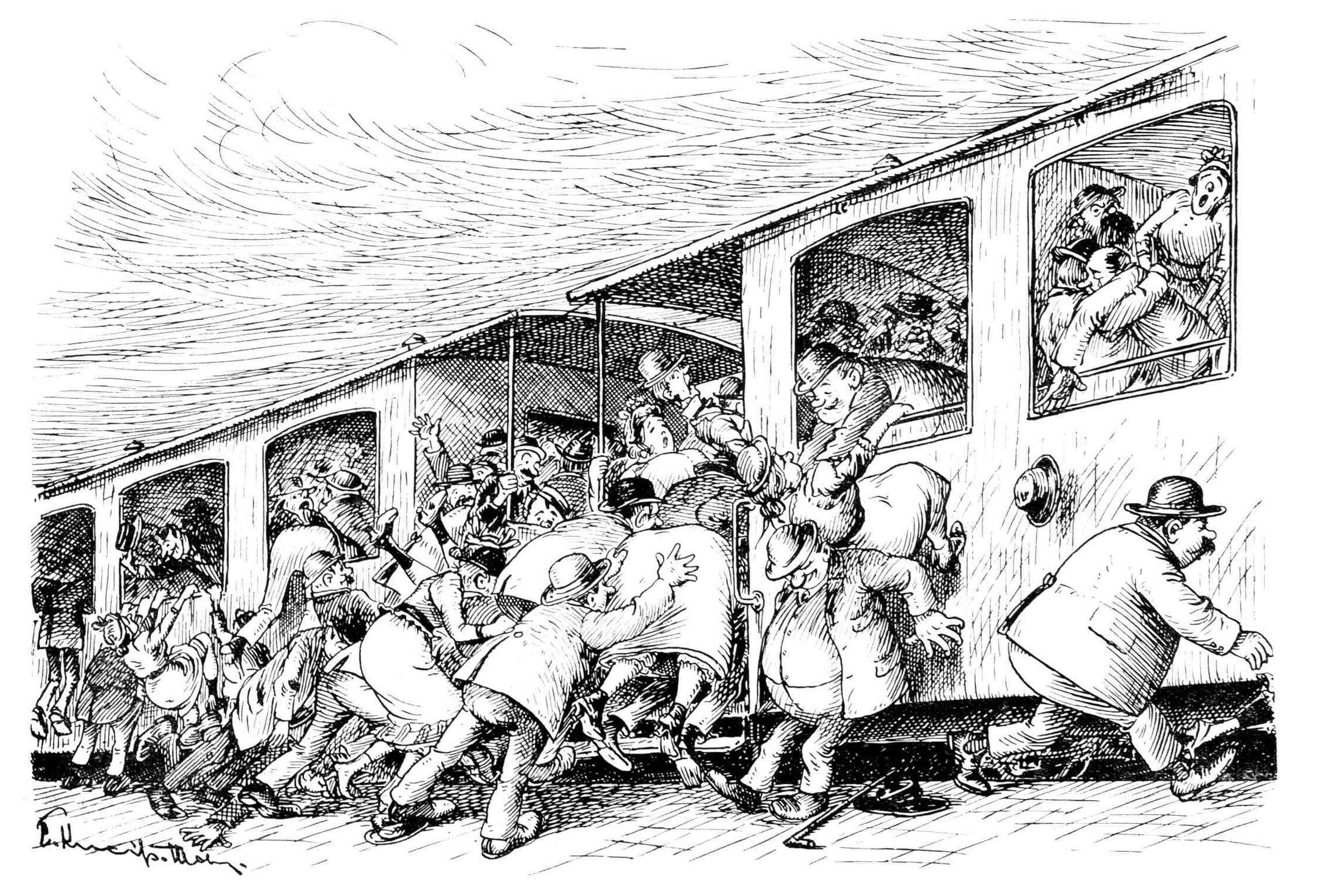Bild: Menschenmenge stürmt in die Abteile eines Eisenbahnzuges