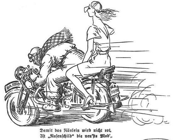 """Bild: Auf dem Motorrad ist """"Nasenschild"""" die neu'ste Mod'"""