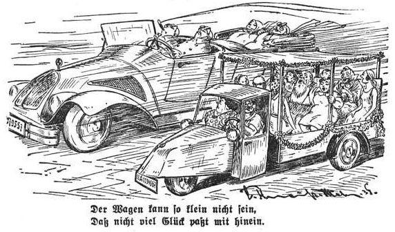 Bild: Der Wagen kann so klein nicht sein, daß nicht viel Glück passt mit hinein