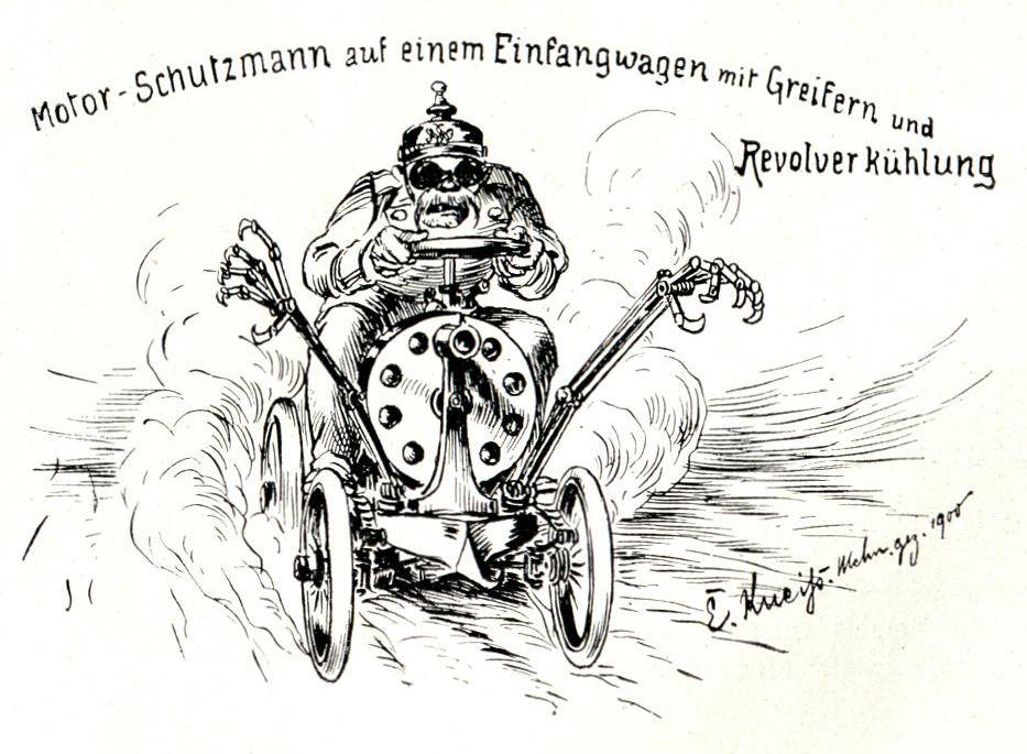 Bild: Motor-Schutzmann auf einem Einfangwagen mit Greifern und Revolverkühlung