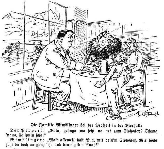Bild: Die Familie Wimblinger bei der Brotzeit in der Bierhalle