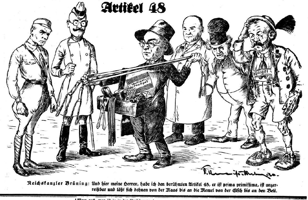 Bild: Reichskanzler Brüning empfiehlt den Artikel 48 als dehnbaren Gummi-Hosenträger