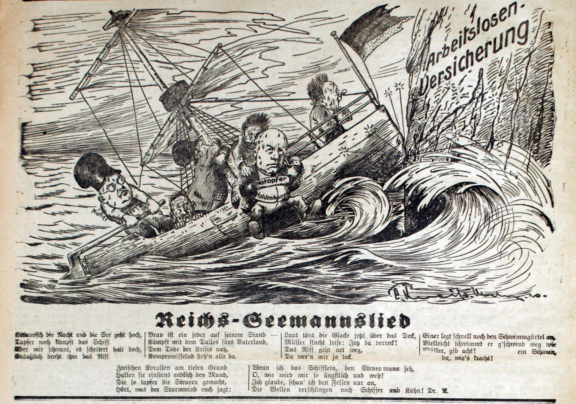 Bild: Reichs-Seemannslied (Das Reichs-Schiff zerschellt am Felsen der Arbeitslosenversicherung)