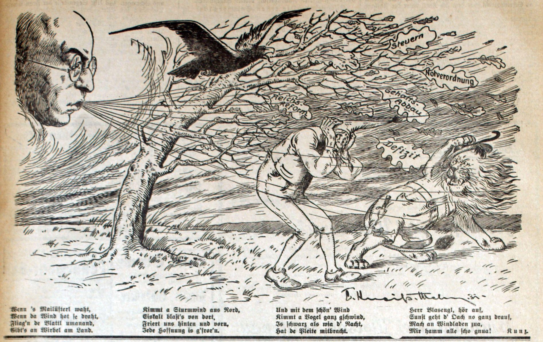 Bild: Reichskanzler Brüning bläst einen kalten Wind über Michl und Löwen
