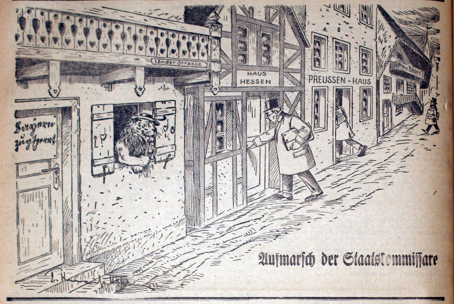 Bild: Aufmarsch der Staatskommissäre