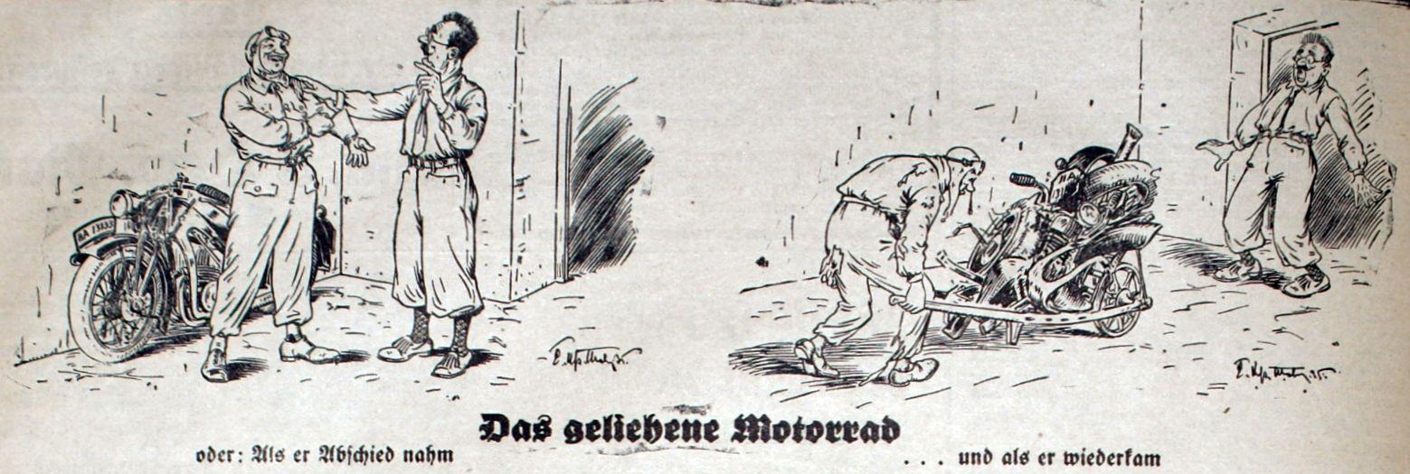"""Bild: Das geliehene Motorrad oder """"Als er Abschied nahm ... und als er wiederkam"""""""