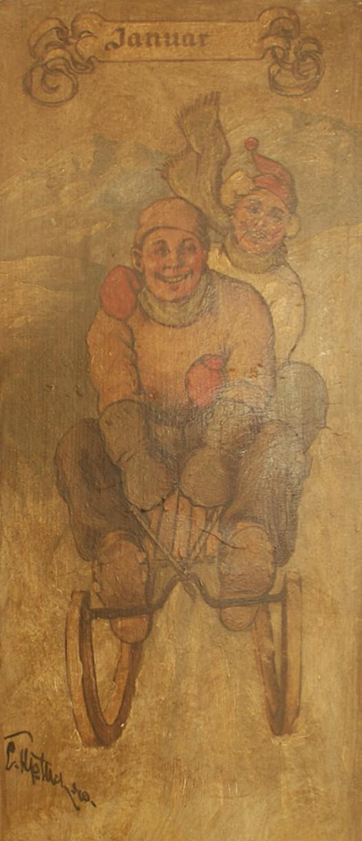 Januar: ein fröhliches Paar auf dem Schlitten
