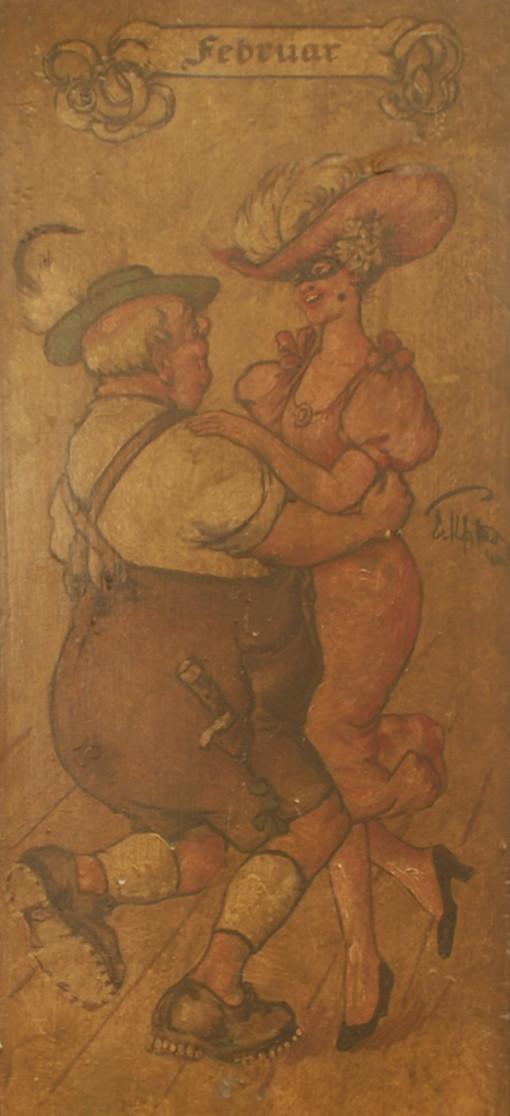 Februar: ein dicker Trachtler mit einer verführerischen Schönen beim Tanz