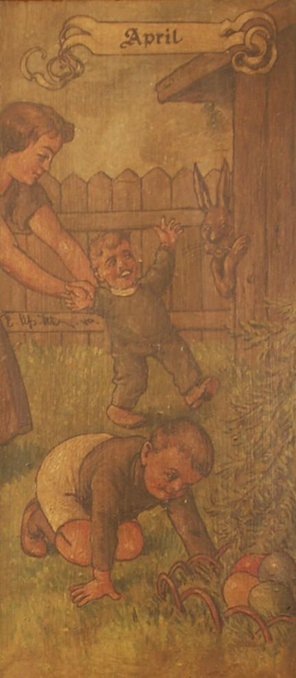 April: Kinder beim Ostereiersuchen; der Osterhase schaut zu!