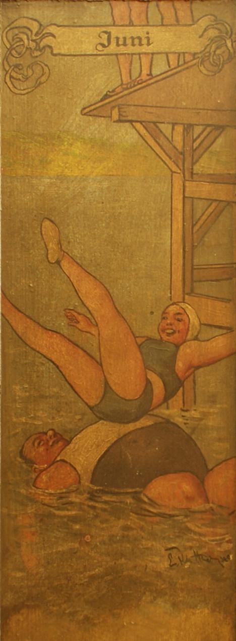 Bild Juni: eine Schöne im zweiteiligen Badeanzug landet auf dem dicken Bauch eines Mannes