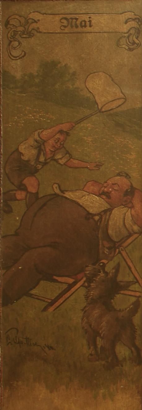 Mai: Ein Bub jagt einen Käfer am Kopf des schlafenden Vaters