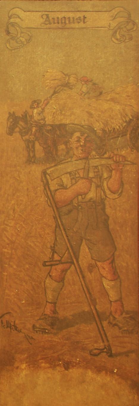 August: Ein Bauer wetzt seine Sense; am Erntewagen sind ein Pferd und ein Ochse eingespannt.