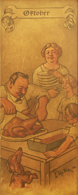 Oktober: Der Vater tranchiert die Kirchweihgans; Mutter, Kinder und der Hund sind erwartungsfroh