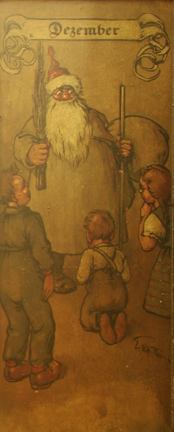 Dezember: Ein gestrenger Nikolaus vor reumütigen Kindern