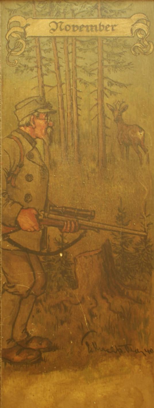 November: Ein bebrillter Jäger sieht nicht den Bock ganz in seiner Nähe