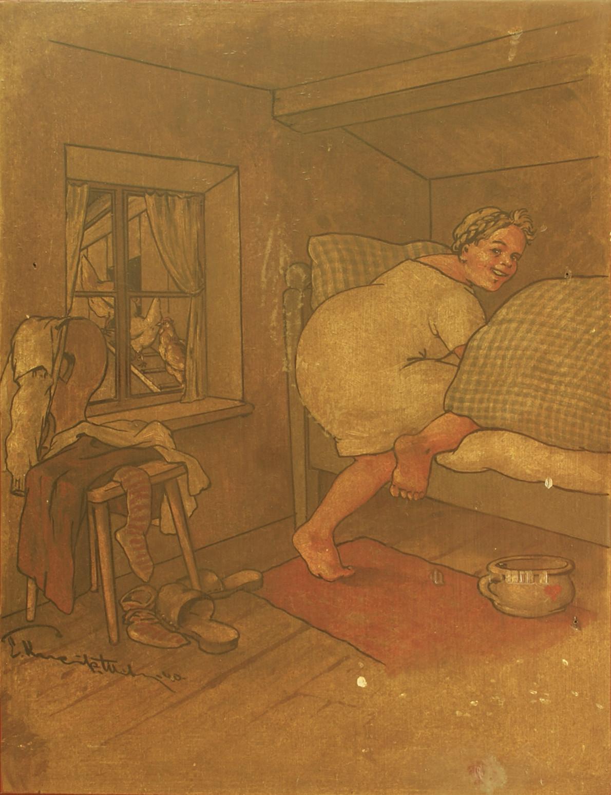 Türfüllung I: Eine hübsche Schöne mit Gretlfrisur geht 'mit den Hühnern' zu Bett