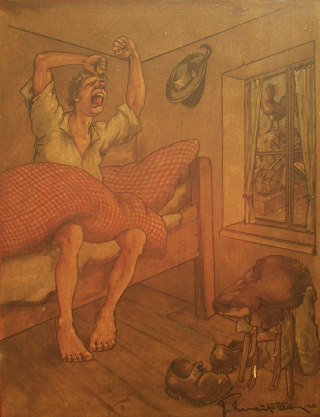 Türfüllung II: Ein Knecht muss mit dem ersten Hahnenschrei aus den Federn