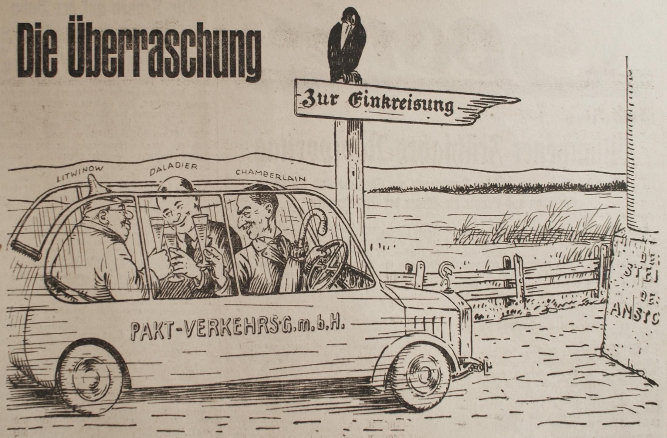 Bild: Die Überraschung: Litwinow, Daladier und Chamberlain auf dem Weg zur Einkreisung