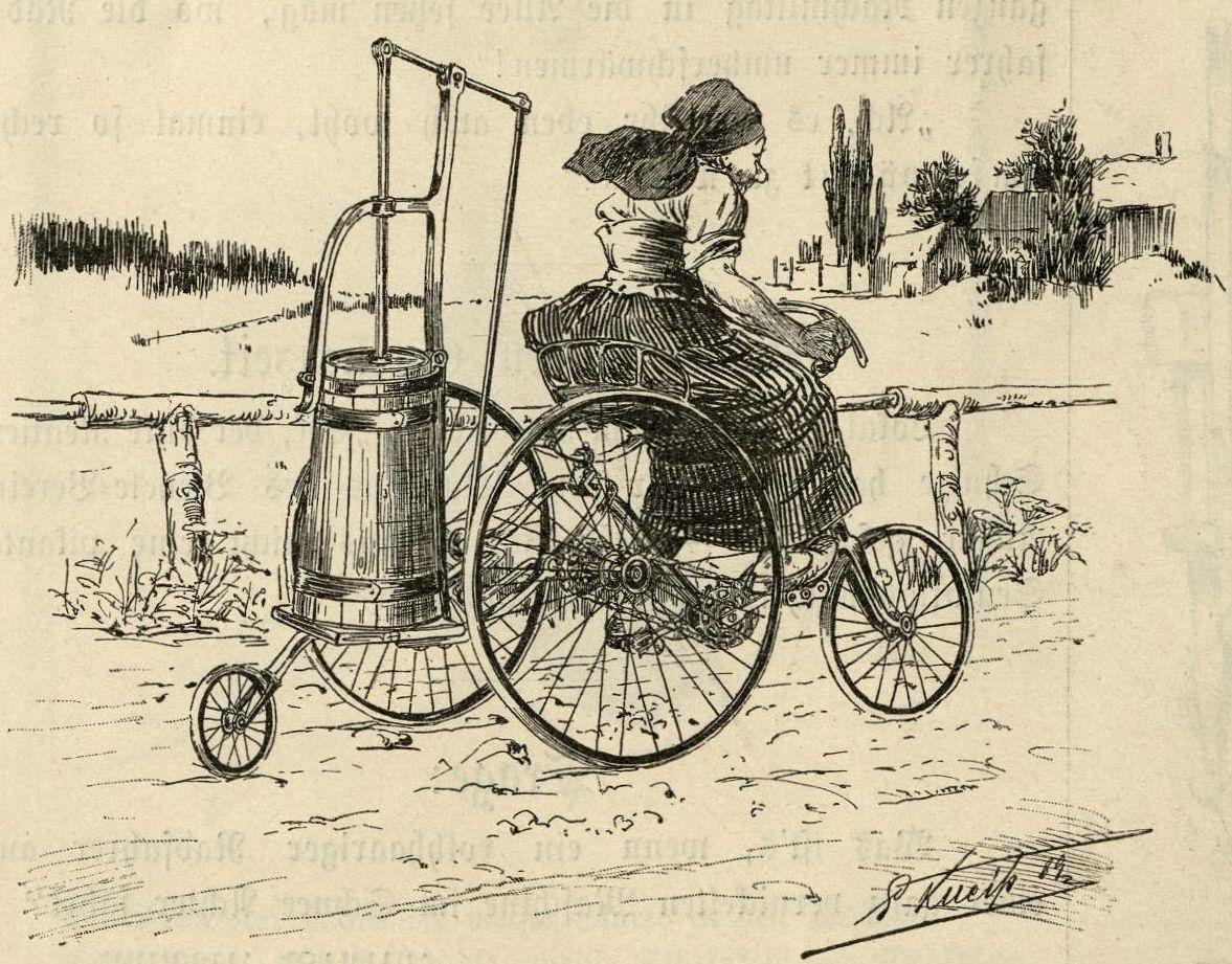 Bild: Ein Dreirad mit einem Butter-Rührfass