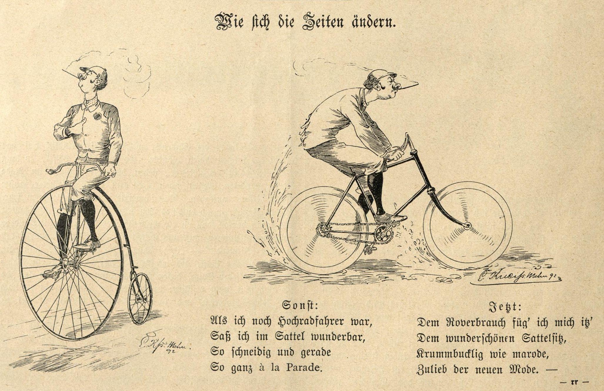 """Bild: """"Wie sich die Zeiten ändern"""": sonst stolzer Hochradfahrer, jetzt buckliger Niederradfahrer"""