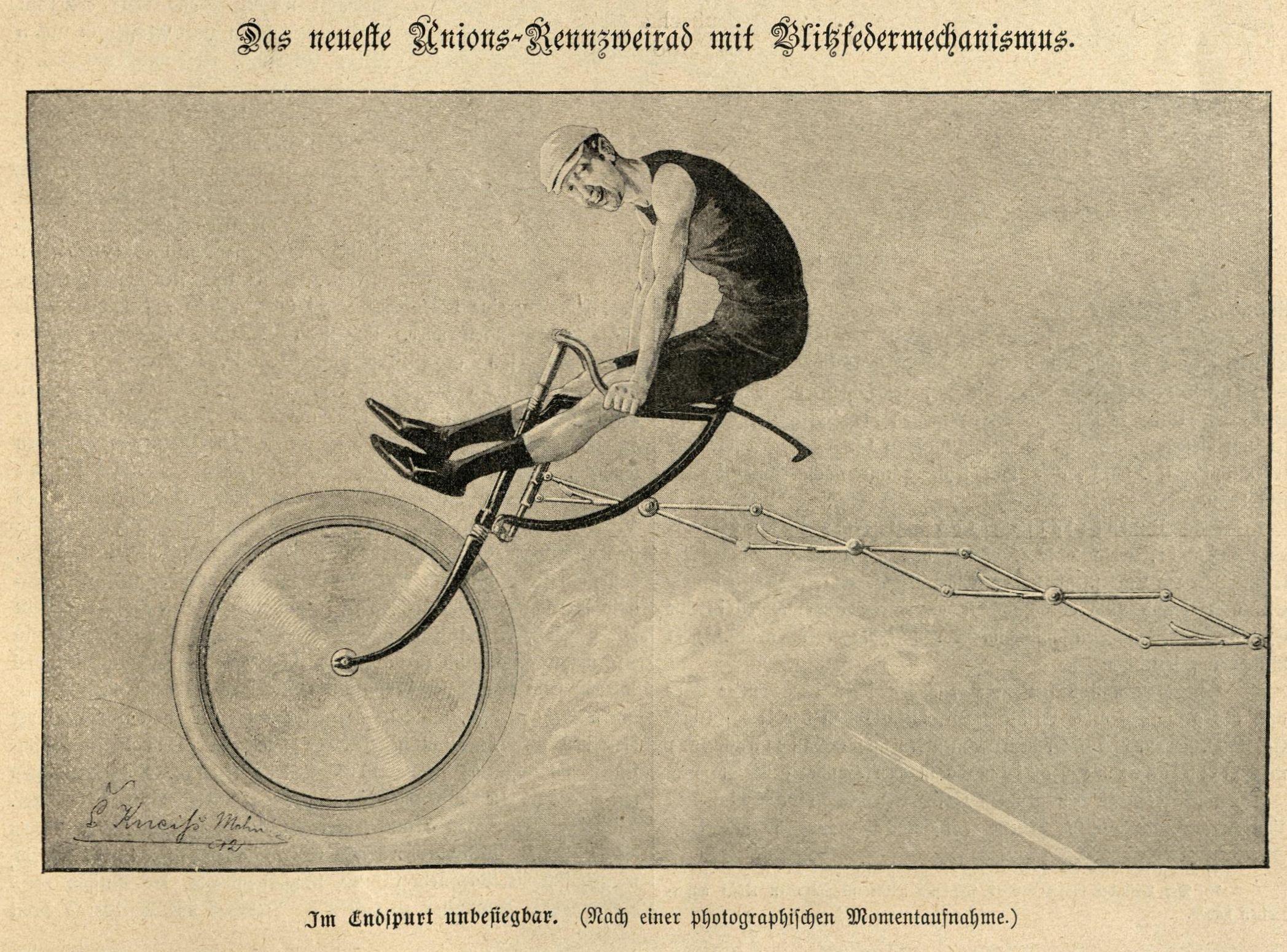 Bild: Thos. Wastshon's Erfindung eines im Endspurt unbesiegbaren Rennzweirades